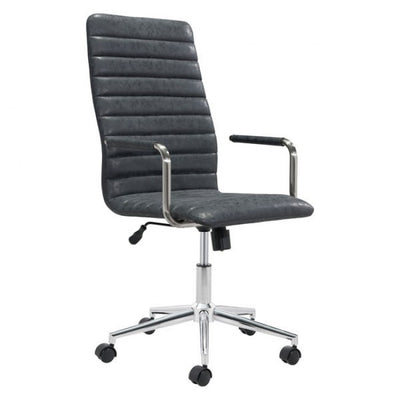 Handsome High-Back Black Leatherette Rolling Office Chair
