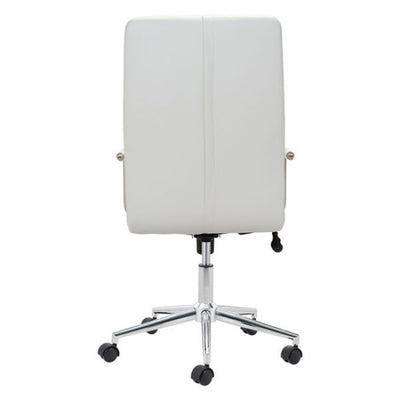Handsome High-Back White Leatherette Rolling Office Chair