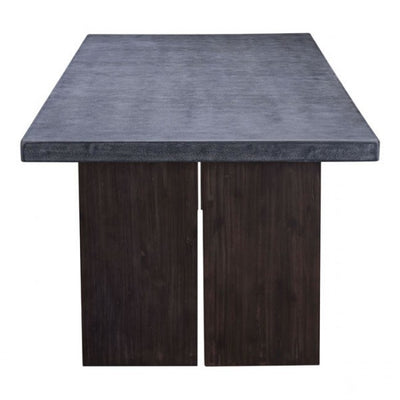 "95"" Cement Conference Table w/ Natural Wood Block-Style Base"