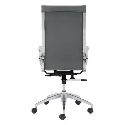 Sleek Gray Leatherette High-Back Office Chair