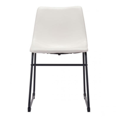 Distressed White Leatherette Guest or Conference Chair
