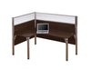 "Pro Biz Premium L-shaped Desk with 55"" Privacy Panel in Chocolate"