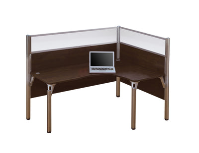 "Pro Biz L-shaped Desk (Right Return) with 55"" Privacy Panel in Chocolate"