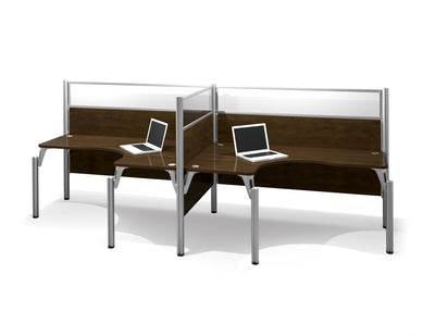 "Chocolate Side-by-Side Desk with 55"" Privacy Panels"