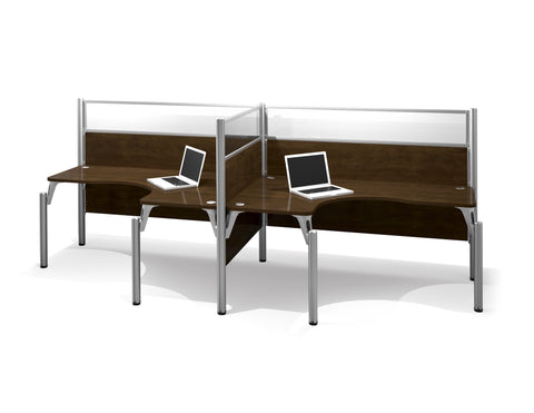 "Premium Pro-Biz Double Workstation with 55"" Privacy Panels in Chocolate"