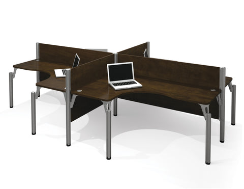 Pro-Biz Commercial Grade Quad Desk with Privacy Panel in Chocolate
