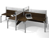 "Pro-Biz Commercial Grade Quad Desk with 55"" Privacy Panel in Chocolate"