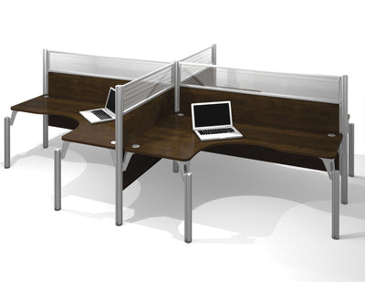 "Pro-Biz Quad Desk with 55"" Privacy Panel in Chocolate"