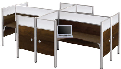 Pro-Biz Premium Four-Workstation Desk with Ultimate Privacy in Chocolate