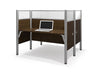 Premium Pro-Biz Double Desk with Privacy Panel in Chocolate
