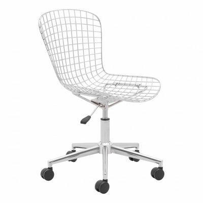 Sleek White Wire Office Chair w/ Wheels