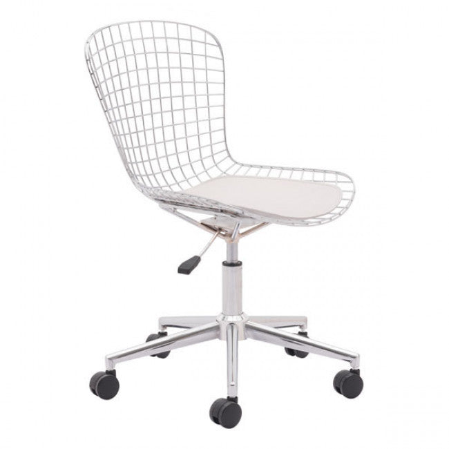Groovy Sleek White Wire Office Chair W Wheels Gmtry Best Dining Table And Chair Ideas Images Gmtryco