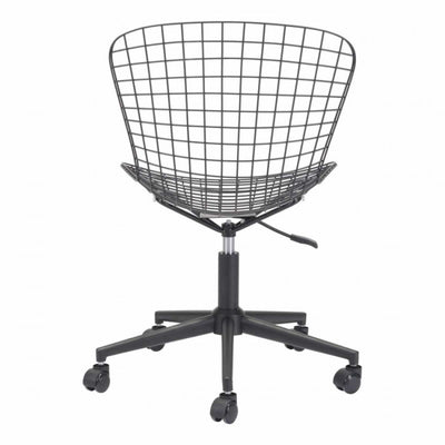 Sleek Black Wire Office Chair w/ Wheels