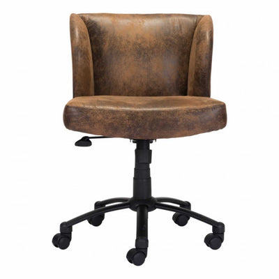 Distressed Brown Cushioned Office Chair