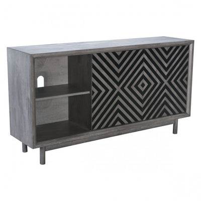 Striking Storage Credenza with Chevron Pattern