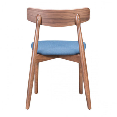 Retro-Modern Walnut Guest or Conference Chair w/ Blue Cushion (Set of 2)