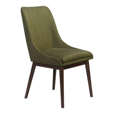 Green Linen & Wood Guest or Conference Chair (Set of 2)
