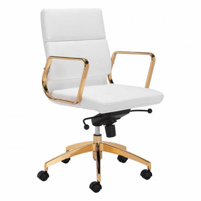Gorgeous Gold and White Leatherette Office Chair