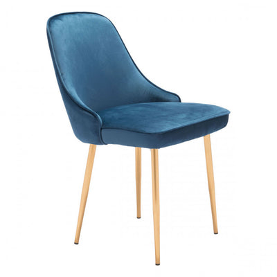 Chic Blue Velvet Guest or Conference Chair