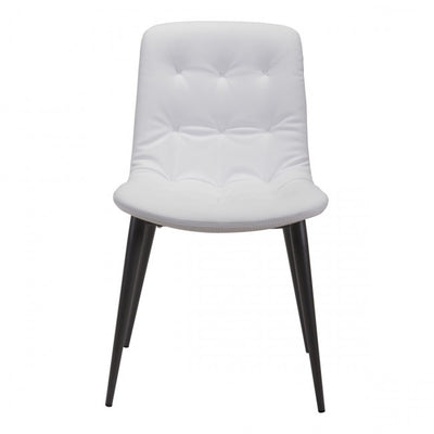 Curved White Leatherette Guest or Conference Chair (Set of 2)