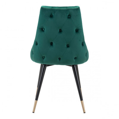 Stylish Green Velvet Guest or Conference Chair w/ Button Tufting (Set of 2)