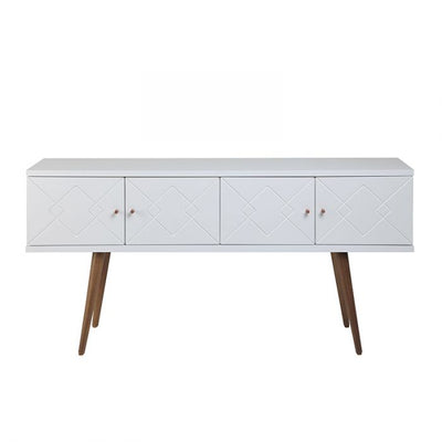 "45"" Well-Crafted Modern Office Desk w/ White Glossy Top"