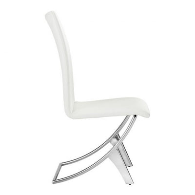 Modern White Leatherette Conference/Guest Chair with Chrome (Set of 2)