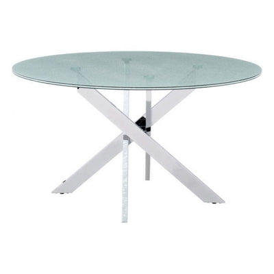 "Stylish 55"" Crackled Glass & Steel Meeting Table"