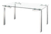 "59"" Executive Desk with Stainless Steel Frame and Glass Top"