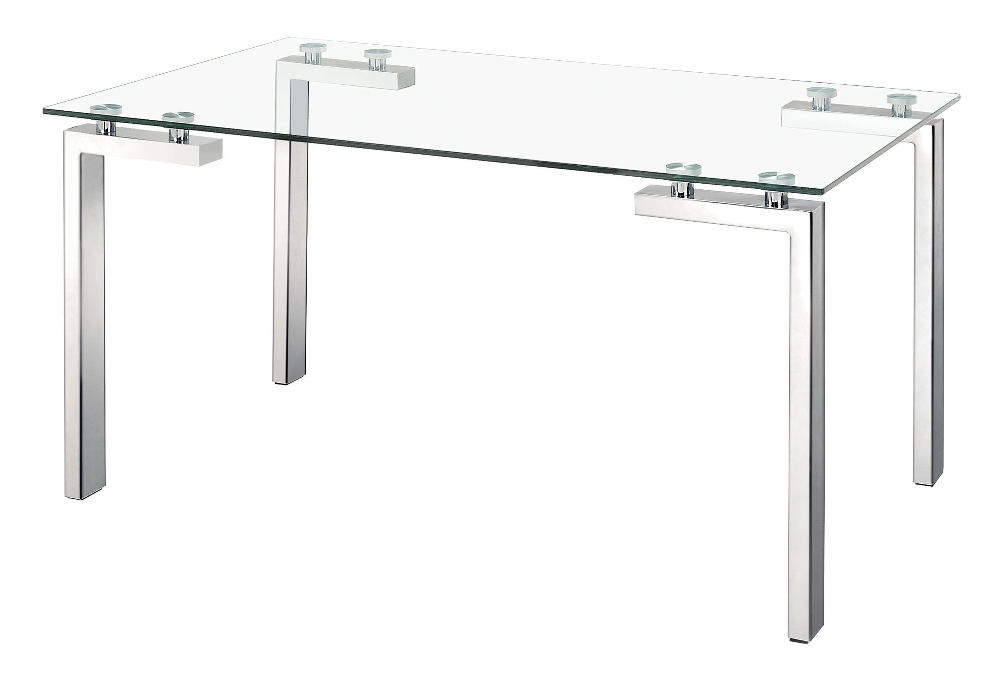 Executive Desk with Stainless Steel Frame and Glass Top - OfficeDesk.com