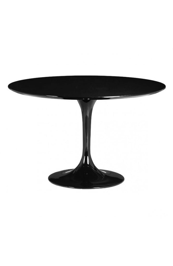 Modern Black Lacquer Circular Meeting Table