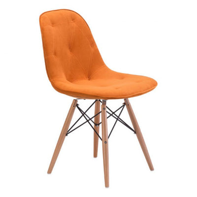 Orange Velour Guest or Conference Chair w/ Button Tufting