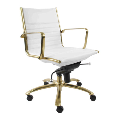 Modern White Leatherette & Brushed Gold Low Back Office Chair