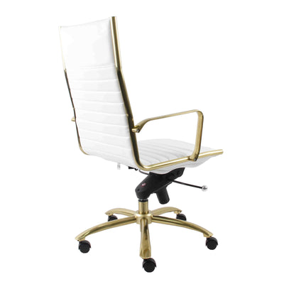 Modern White Leatherette & Brushed Gold Aluminum Office Chair