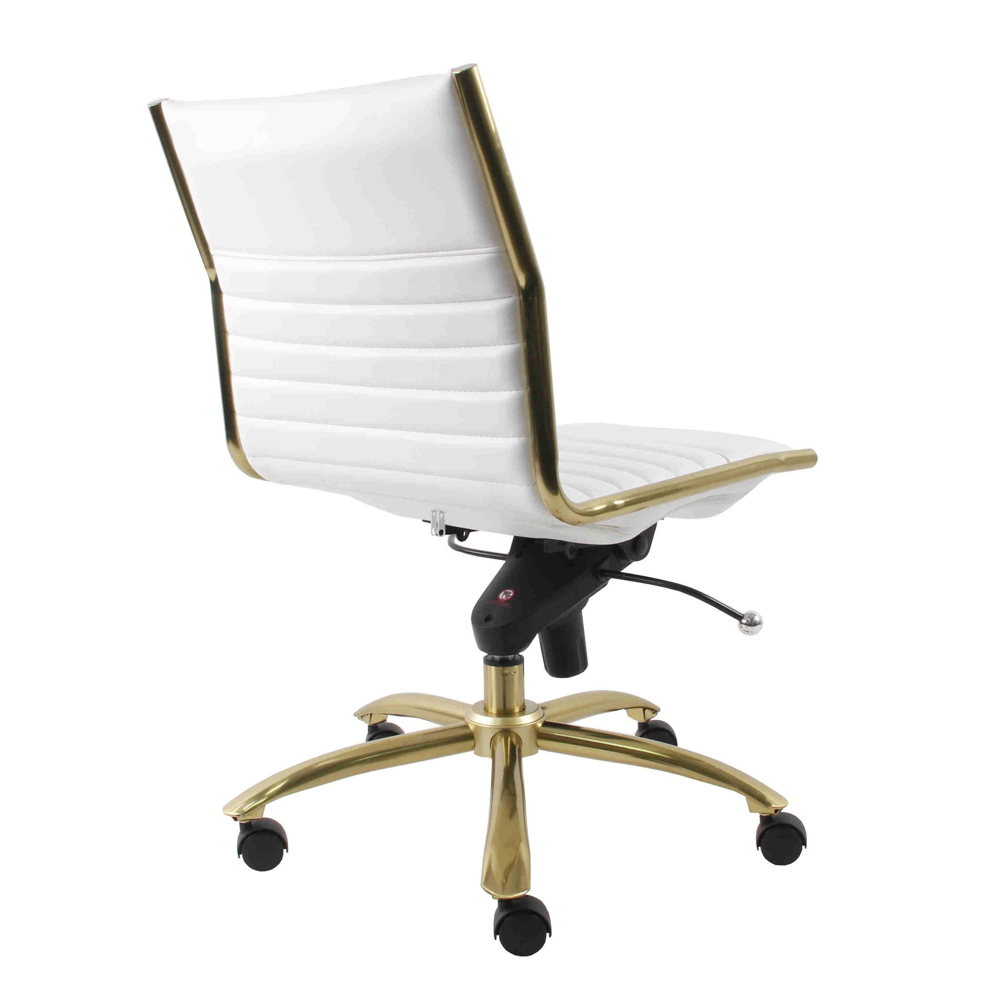 Modern White Leatherette Brushed Gold Armless Office Chair