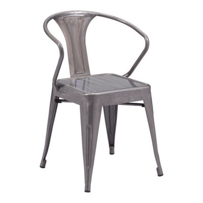 Stackable Industrial Guest or Conference Chair w/ Galvanized Steel Finish (Set of 2)