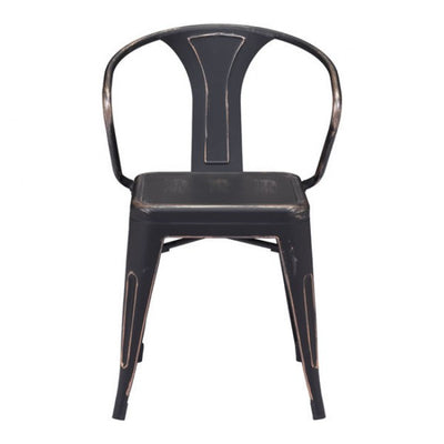 Stackable Industrial Guest or Conference Chair w/ Black Steel Finish (Set of 2)