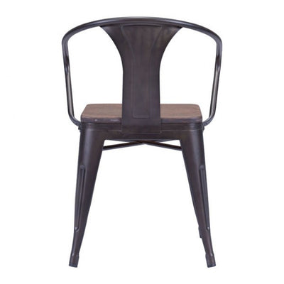 Stackable Industrial Black Guest or Conference Chair w/ Bamboo Top (Set of 2)