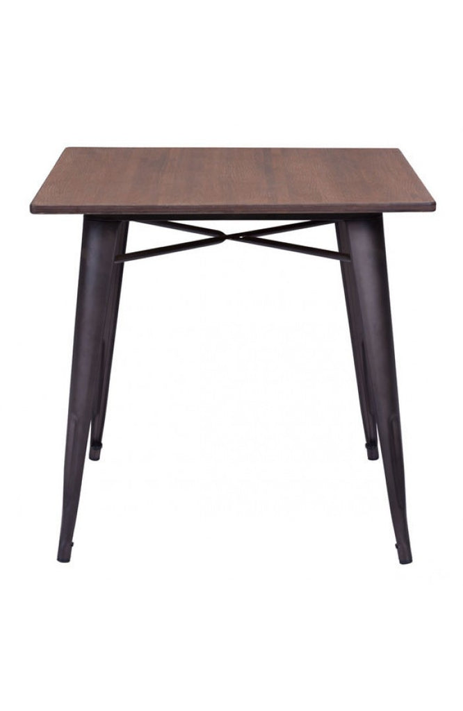 Modern Square Desk or Meeting Table with Rustic Bamboo Top