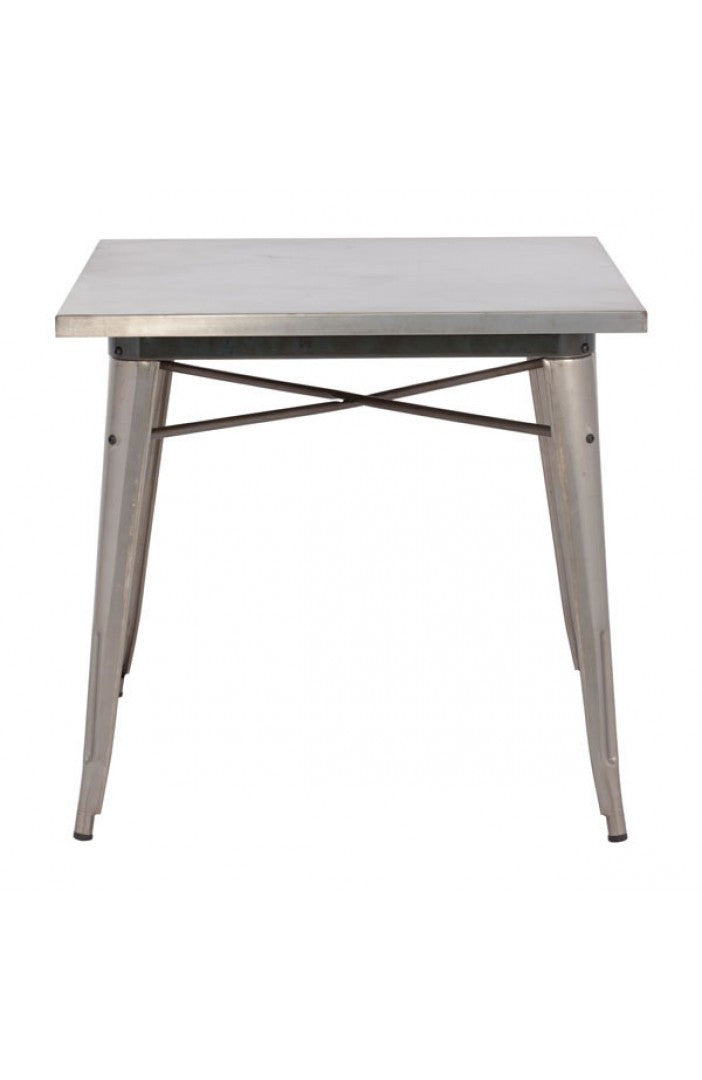Modern Square Desk or Meeting Table in Gunmetal Finish
