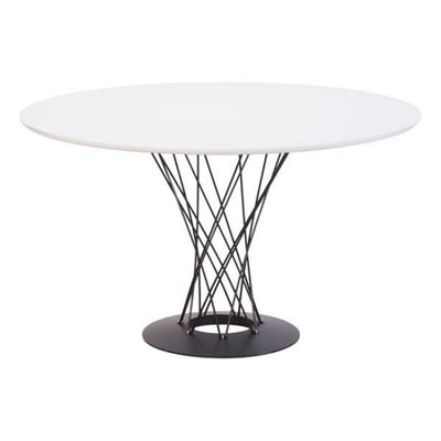 White & Twisting Steel Round Meeting Table