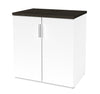 "Modern White 28"" Storage Cabinet with Deep Gray Top"