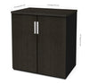 Deep Gray & Black Storage Cabinet with Adjustable Shelving