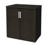 Elegant Two door Storage Cabinet in Deep Gray & Black with Adjustable Shelving