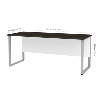 "Modern 71"" Executive Office Desk in White & Deep Gray"