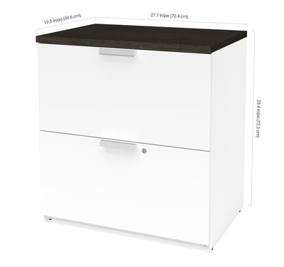 "Modern 28"" Locking Lateral File in White & Deep Gray"