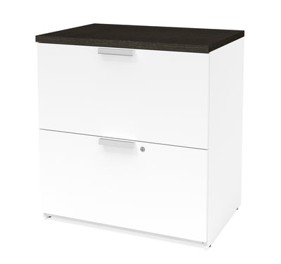 Modern White & Deep Gray L-shaped Desk with Drawers