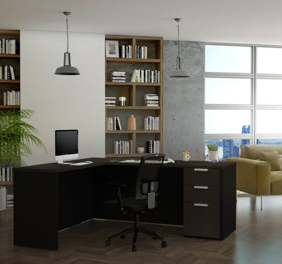 Deep Gray & Black L-shaped Modern Desk with Single Pedestal