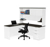 White & Deep Gray L-shaped Desk with Hutch