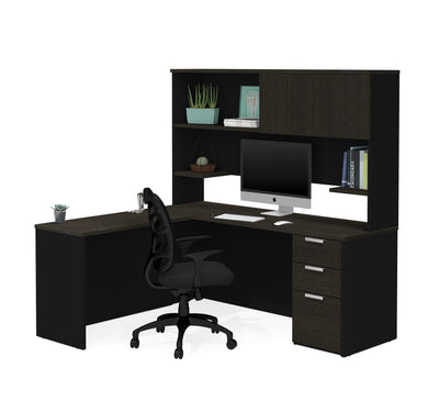 Premium L-shaped Desk with Hutch in Deep Gray & Black